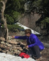 Christel sets healing intentions for all students and patients at her St. Jude Cairn in Sun Valley, ID.
